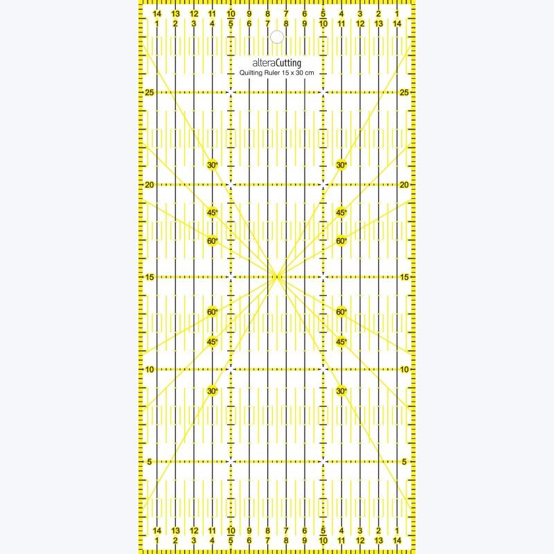Régle de couture (quilt/patchwork) 15x30cm - JAUNE