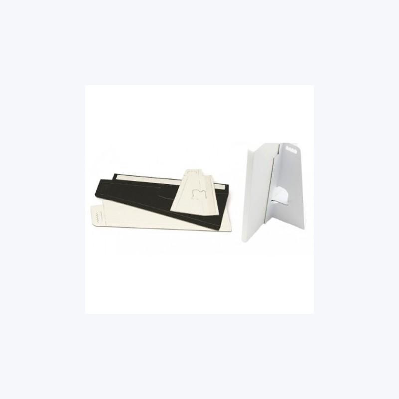 Pied chevalet carton, adhésif - BLANC
